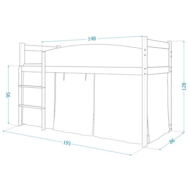SKLADOM: Vyvýšená detská posteľ TWISTER 184x80 cm - Farma - sivá / modrá + matrac