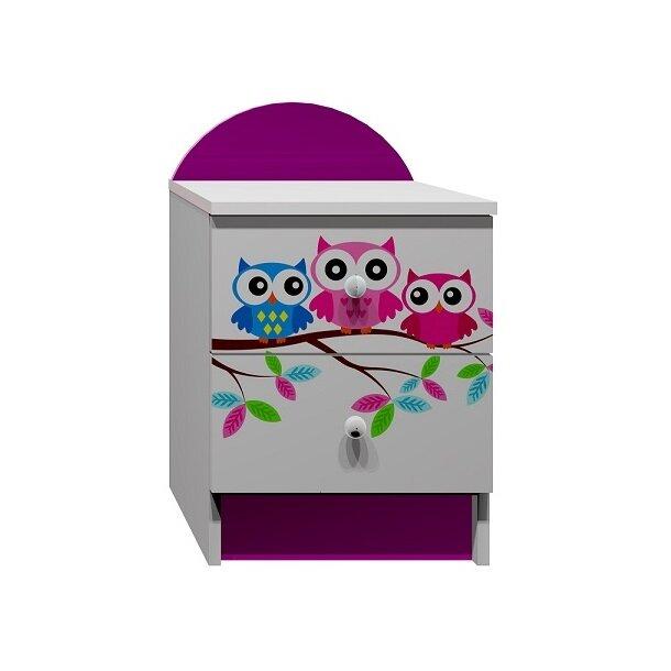 SKLADOM: Nočný stolík FAREBNÉ SOVY - biela + fialová