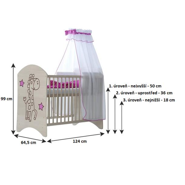 SKLADOM: Detská postieľka MÉĎA 120x60 cm - nórska borovica