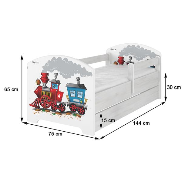 SKLADOM: Detská posteľ - MODRÝ MACKO 140x70 cm - 2x krátka zábrana