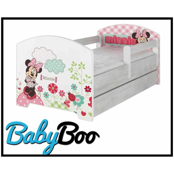 SKLADOM: Detská posteľ Disney - MYŠKA MINNIE 160x80 cm - 1x dlhá + 1x krátka bariérka