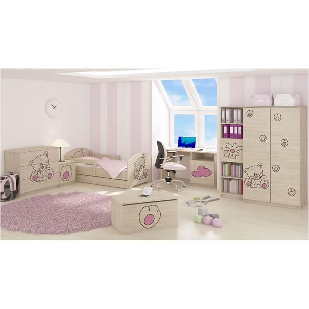 SKLADOM: Detská posteľ s výrezom MAČIČKA bez zásuvky - ružová 140x70 cm + matrac ZADARMO