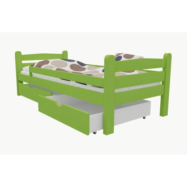 SKLADOM: Detská posteľ z MASÍVU 200x90cm bez šuplíku - M01 - zelená