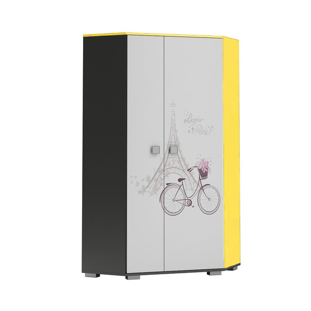 SKLADOM: Šatníková skriňa PARÍŽ - TYP B - grafitová / žltá