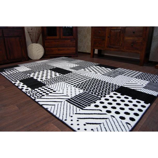Moderné koberec čierno-biely F760