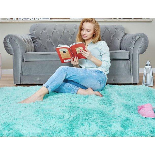 Detský plyšový koberec Tyrkysové