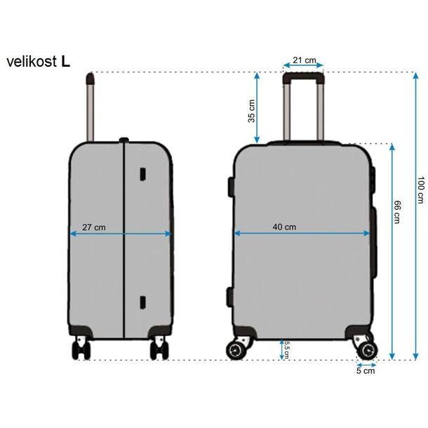 Moderné cestovné kufre DIAMOND - rozmery vel. L