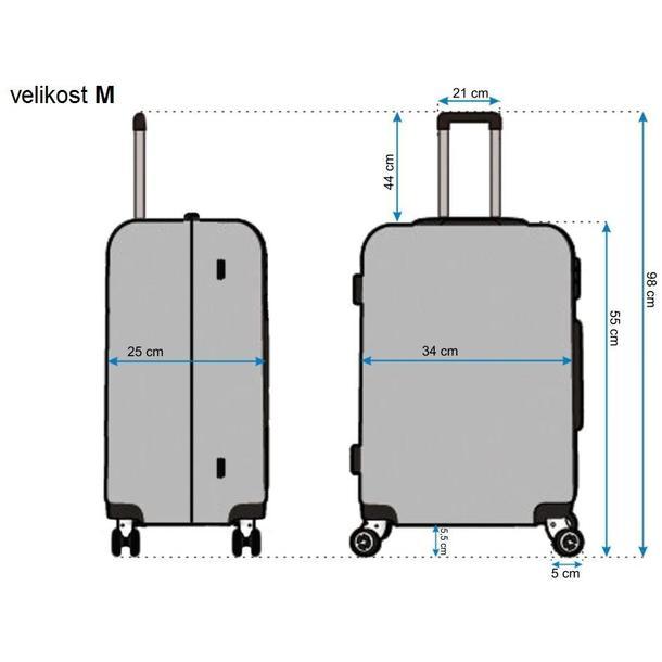 Moderné cestovné kufre DIAMOND - rozmery vel. M