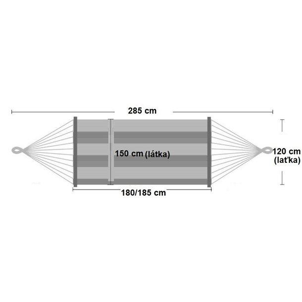 Hojdacia sieť pre dvoch 220x150 cm - rozmery