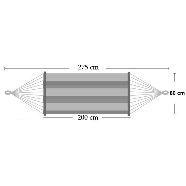 Hojdacia sieť 200x100 cm - rozmery