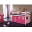Detská vyvýšená posteľ DOMČEK ružový - BIELA
