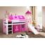 Detská vyvýšená posteľ so šmýkačkou DOMČEK ružový - BIELA