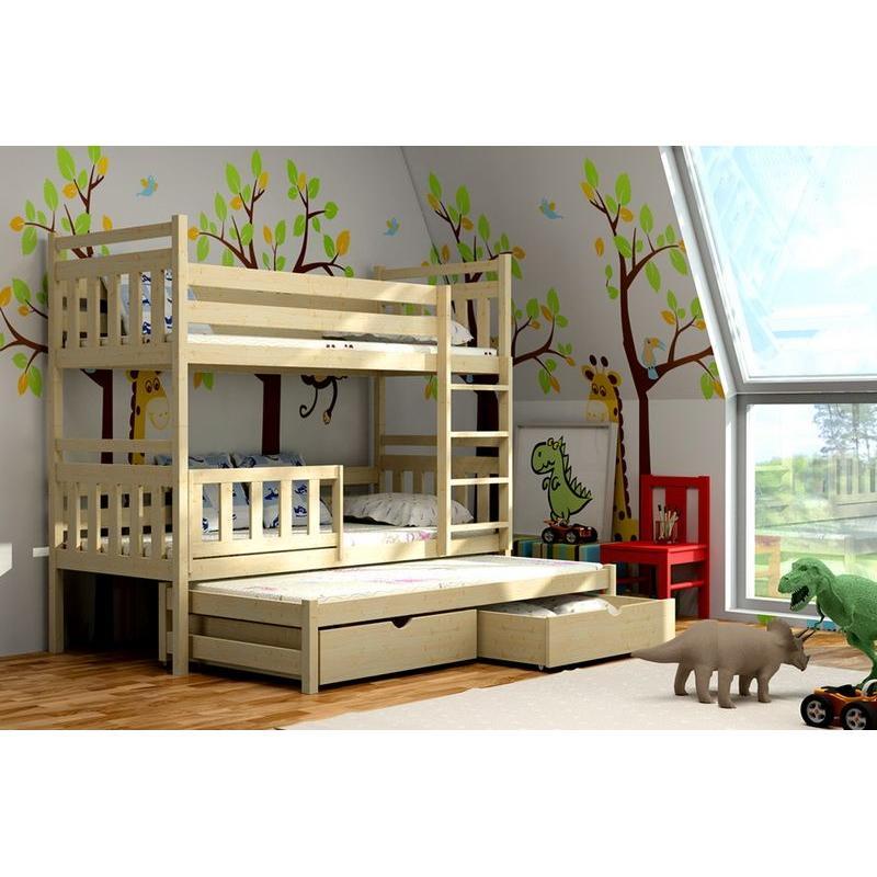 f99bdf3e9250 Detská poschodová posteľ s prístelkou z MASÍVU 200x90cm so zásuvkou -  PPV004 ...